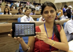 Aakash 2 tablet, manufactured by the UK-based company Datawind, which the Indian government hopes to sell to students at the equivalent price of £13 over the next few years