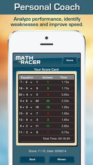 Math Racer 3.0 - Addition, Subtraction, Multiplication and Division Tables Speed Game-3