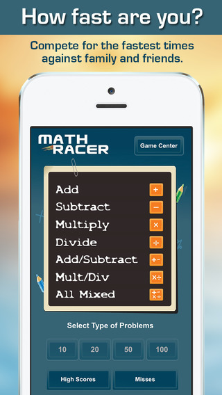Math Racer 3.0 - Addition, Subtraction, Multiplication and Division Tables Speed Game-4