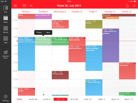 Week Calendar for iPad App - 1