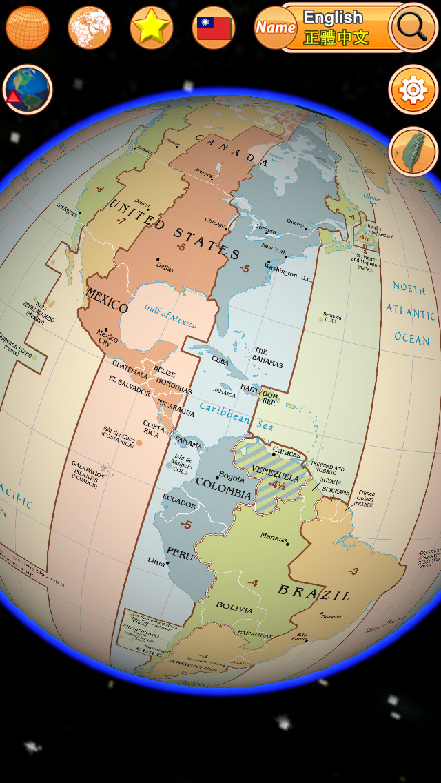 Globe Earth 3D: Flags Anthems and World Time Zones App - 1