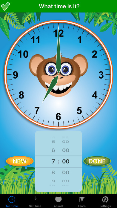 Jungle Time : learn how to tell time