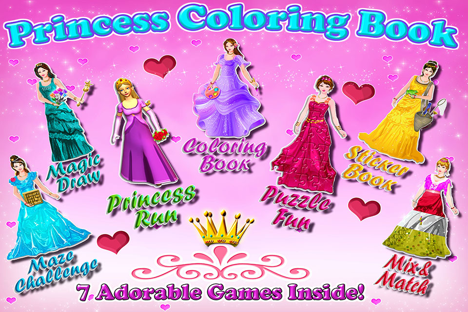Princess Coloring Book - All in 1 draw , paint and color games HD-1