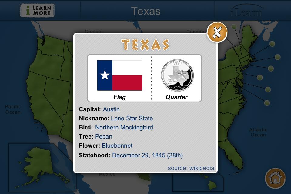 iLearn: US States App - 3
