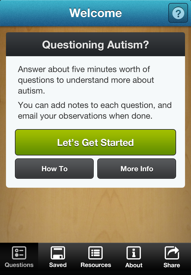Questioning Autism? App - 1