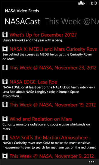 NASA Video Feeds App - 1