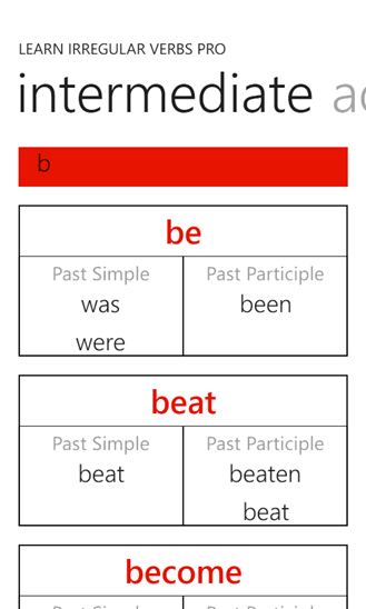 Learn Irregular Verbs PRO App - 5