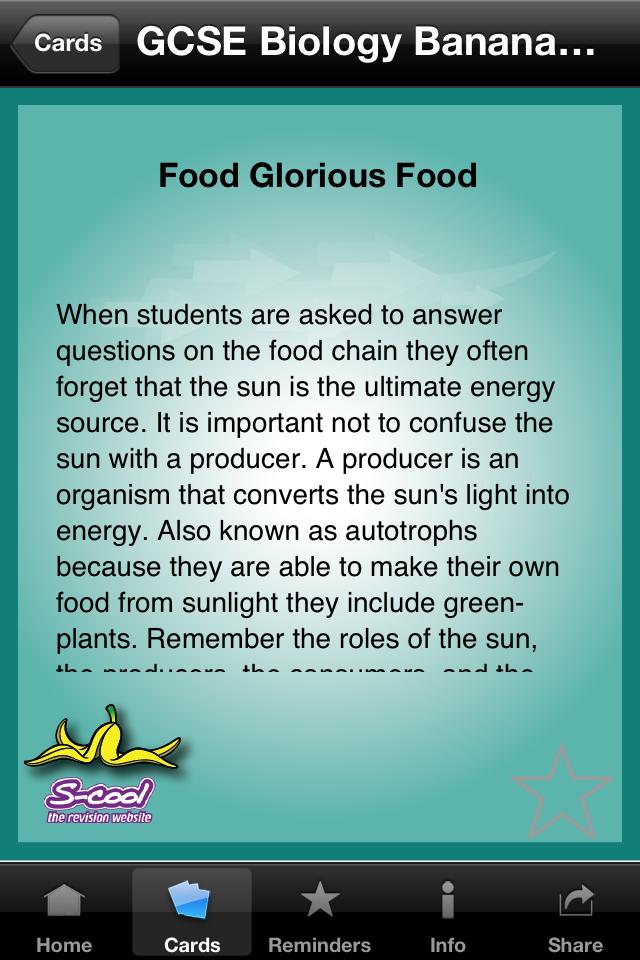 GCSE Biology Banana Skins - Revision Flash Cards App - 3