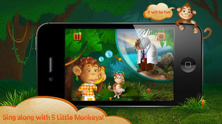 Kids Academy • 5 Little Monkeys - Interactive Nursery Rhyme. Fun music educational app for Baby, Toddlers and Preschool children.-3