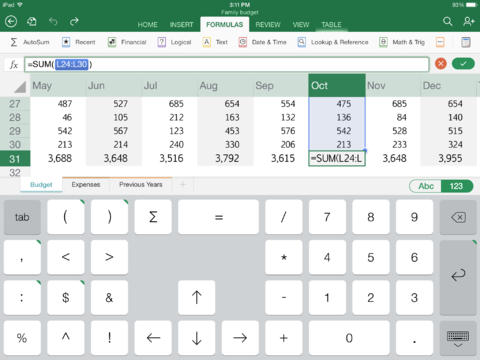 Microsoft Excel for iPad-2