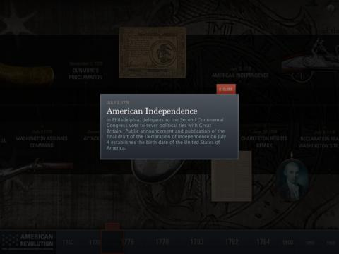 American Revolution Interactive Timeline for iPad App - 3