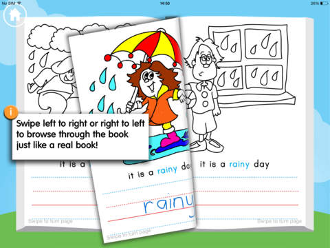 Writing and Colouring Activity Book of Weather Words – a Montessori letter shape tracing activity app-1