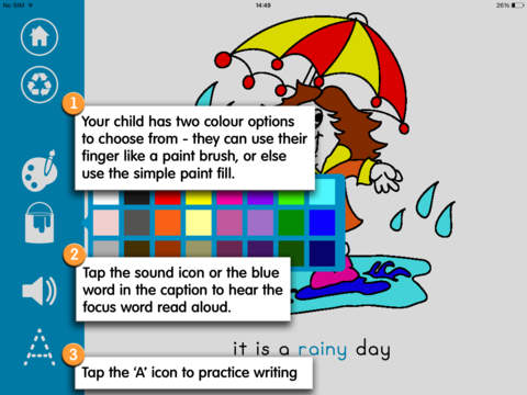 Writing and Colouring Activity Book of Weather Words – a Montessori letter shape tracing activity app-3