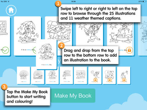 Writing and Colouring Activity Book of Weather Words – a Montessori letter shape tracing activity app-5